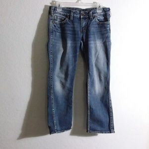 W32 x L25 washed and kiss stressed jeans